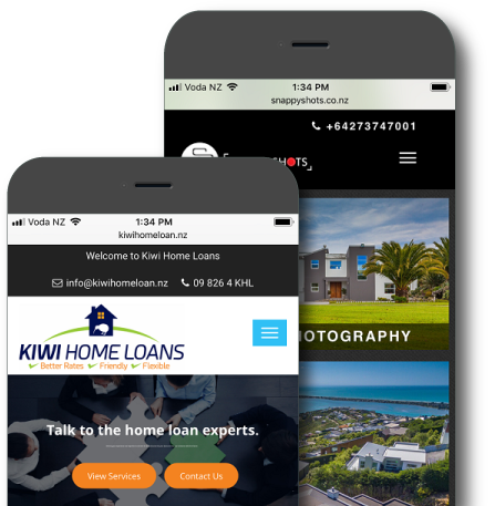 Two mobiles with responsive website design