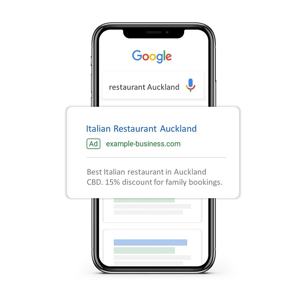 Mobile phone showing google ad
