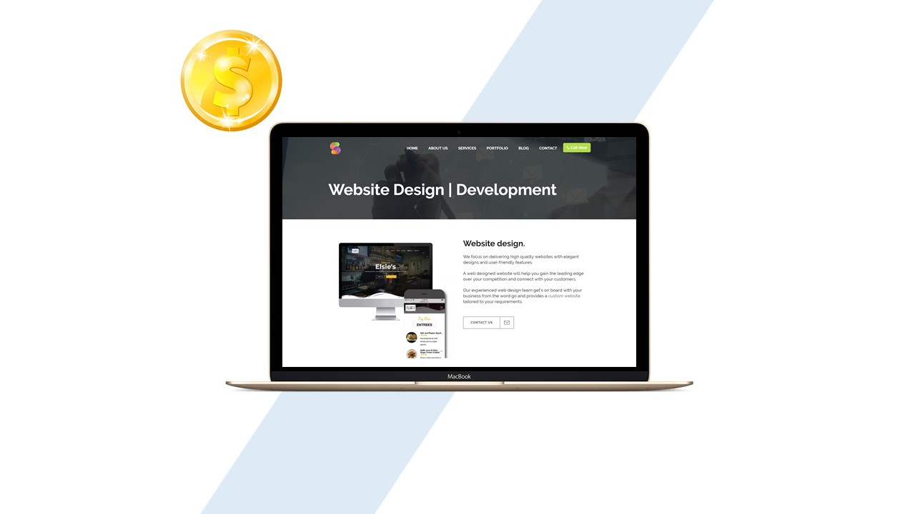 Website design on Laptop with dollar sign